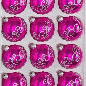 """12 tlg. Glas-Weihnachtskugeln Set in """"Hochglanz Pink"""" Silberne Ornamente"""