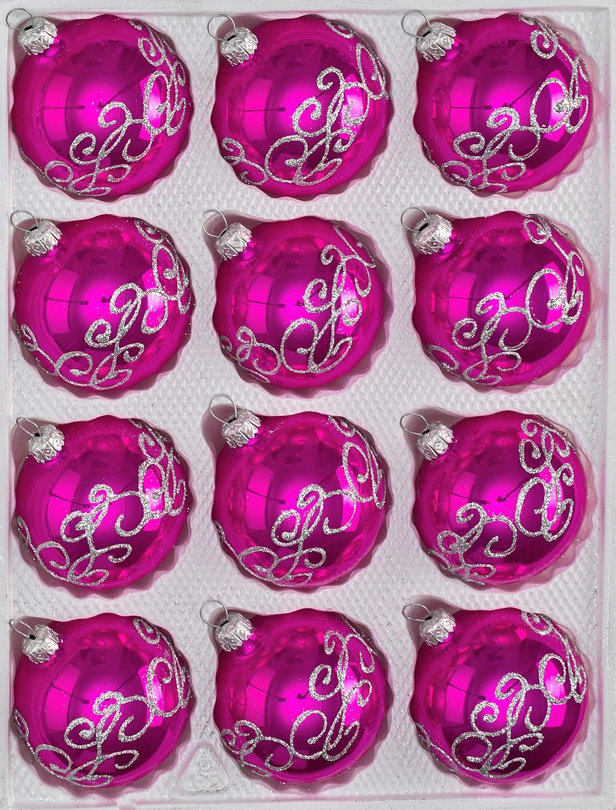 12 tlg glas weihnachtskugeln set in hochglanz pink. Black Bedroom Furniture Sets. Home Design Ideas