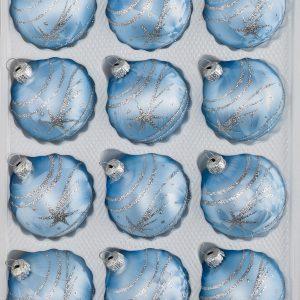 """12 tlg. Glas-Weihnachtskugeln Set in """"Ice Blau Silber"""" Komet"""