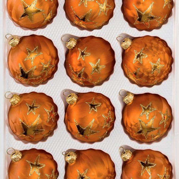 """12 tlg. Glas-Weihnachtskugeln Set in """"Ice Orange Gold"""" Goldener Stern"""