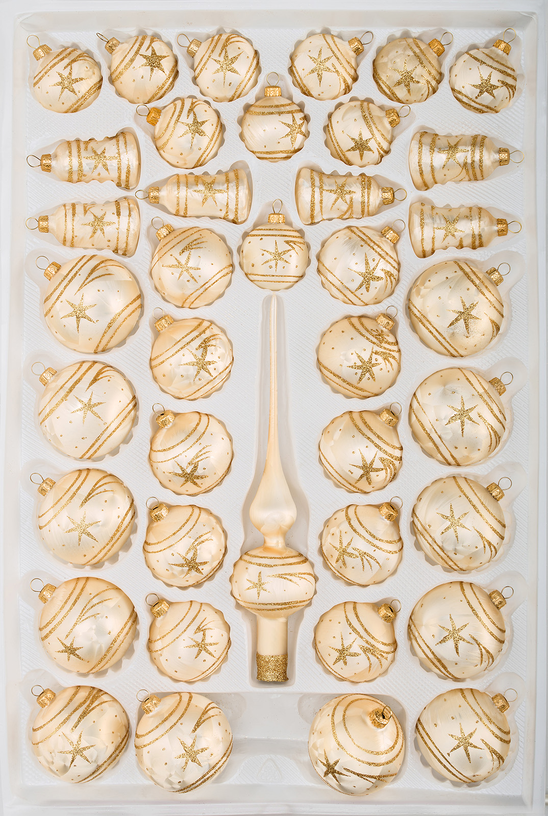 "39 tlg. Glas-Weihnachtskugeln Set in ""Ice Champagner Gold"" Komet"