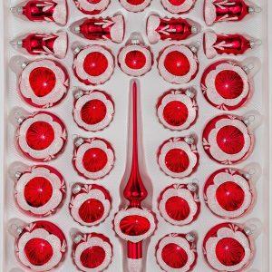 """39 tlg. Glas-Weihnachtskugeln Set in """"Hochglanz Vintage Rot"""""""