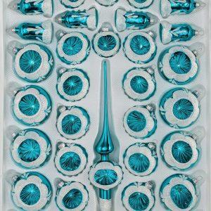 """39 tlg. Glas-Weihnachtskugeln Set in """"Hochglanz Vintage"""" Türkis Reflektorkugeln"""