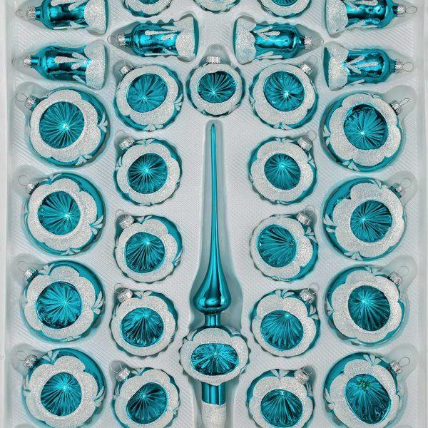 39 tlg glas weihnachtskugeln set in hochglanz vintage. Black Bedroom Furniture Sets. Home Design Ideas