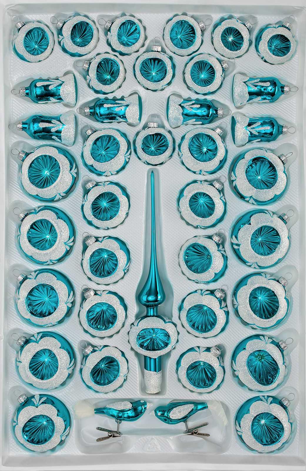 Christbaumkugeln Türkis Glas.39 Tlg Glas Weihnachtskugeln Set In Hochglanz Vintage Türkis Reflektorkugeln