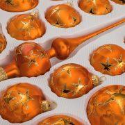"""39 tlg. Glas-Weihnachtskugeln Set in """"Ice Orange Gold"""" Goldener Stern"""