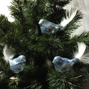 """3 tlg. Glas Vogel Set in """"Hochglanz Blau"""""""