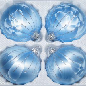 """4 tlg. Glas-Weihnachtskugeln Set 8cm Ø in """"Ice Blau Silber"""" Regen"""