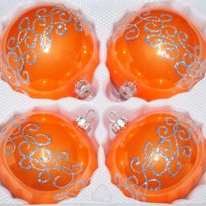 """4 tlg. Glas-Weihnachtskugeln Set 10cm Ø in """"Hochglanz Orange Silberne Ornamente"""""""