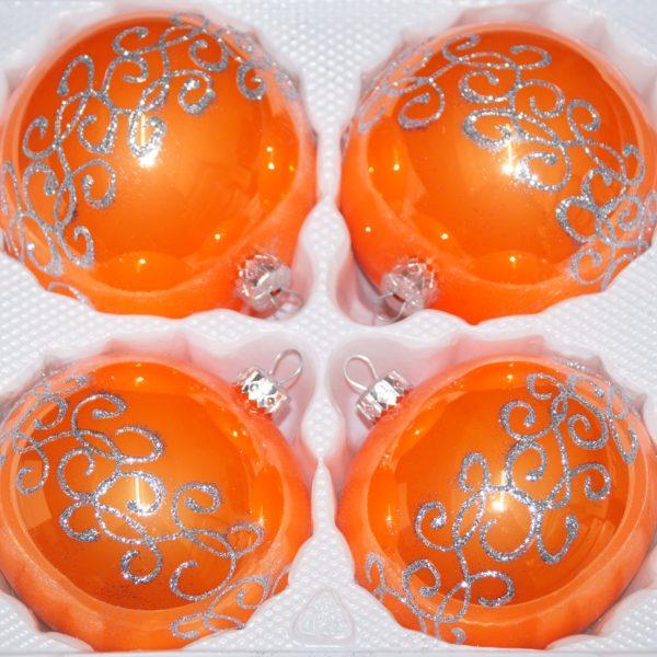 """4 tlg. Glas-Weihnachtskugeln Set 8cm Ø in """"Hochglanz Orange Silberne Ornamente"""""""
