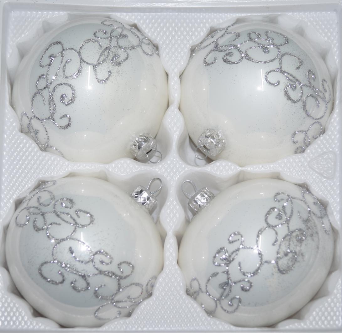 """4 tlg. Glas-Weihnachtskugeln Set 8cm Ø in """"Hochglanz Weiss Silberne Ornamente"""""""