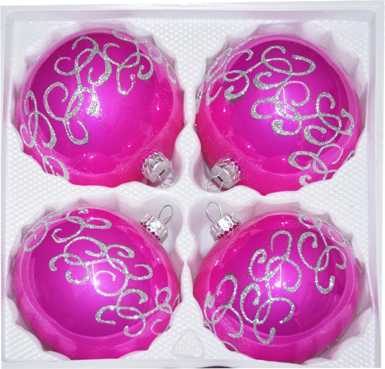 """4 tlg. Glas-Weihnachtskugeln Set 8cm Ø in """"Hochglanz Pink Silberne Ornamente"""""""