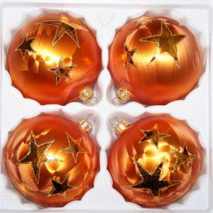 "4 tlg. Glas-Weihnachtskugeln Set 8cm Ø in ""Ice Orange Gold"" Goldener Stern"