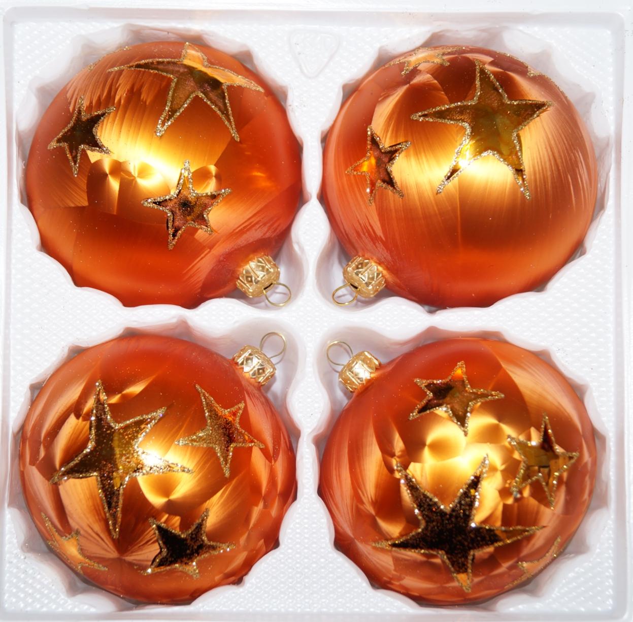 4 tlg glas weihnachtskugeln set 8cm in ice orange gold. Black Bedroom Furniture Sets. Home Design Ideas