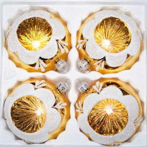 """4 tlg. Glas-Weihnachtskugeln Set 10cm Ø in """"Hochglanz Vintage Gold"""""""