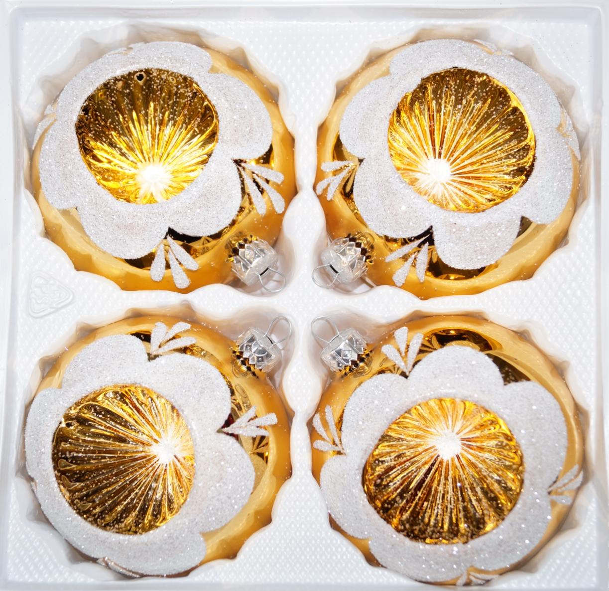 Christbaumkugeln Glas Gold.4 Tlg Glas Weihnachtskugeln Set 10cm ø In Hochglanz Vintage Gold
