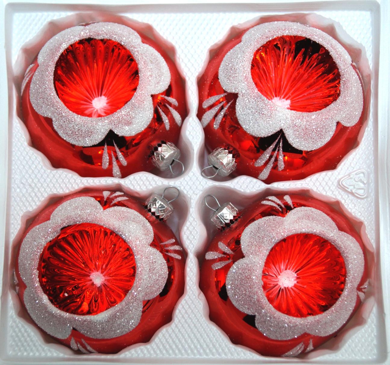 """4 tlg. Glas-Weihnachtskugeln Set 8cm Ø in """"Hochglanz Vintage Rot"""""""