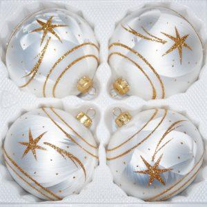 """4 tlg. Glas-Weihnachtskugeln Set 8cm Ø in """"Ice Weiss Gold"""" Komet"""