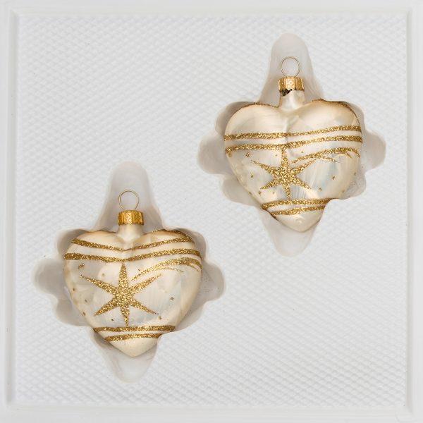 "2 tlg. Glas-Herzen Set in ""Ice Champagner Gold"" Komet"