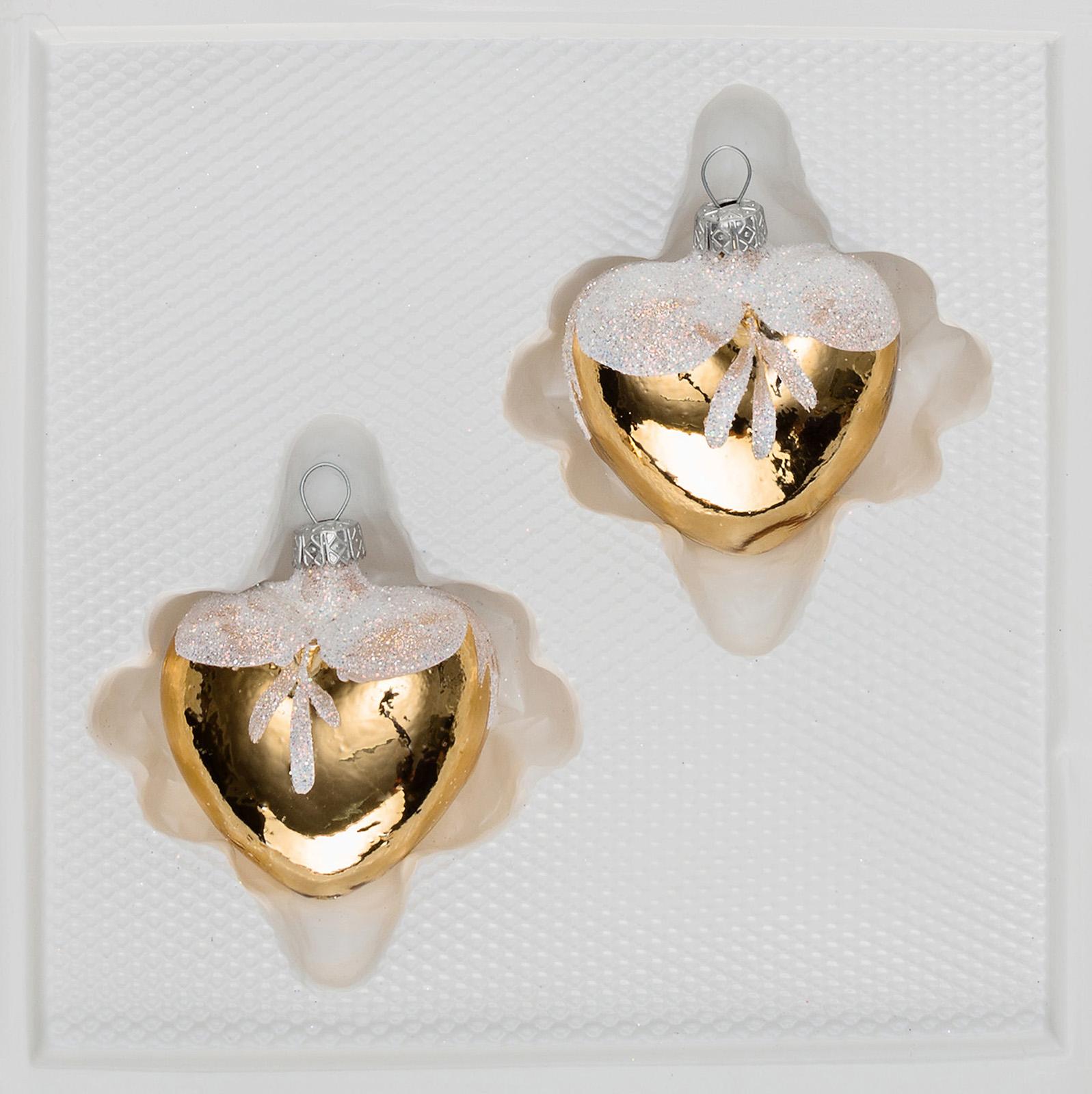 """2 tlg. Glas-Herzen Set in """"Hochglanz Vintage Gold"""""""
