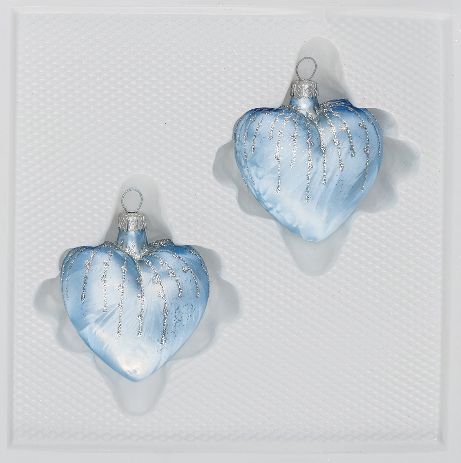 """2 tlg. Glas-Herzen Set in """"Ice Blau Silber"""" Regen"""