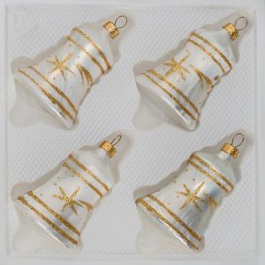 "4 tlg. Glas-Glocken Set in ""Ice Weiss Gold"" Komet"