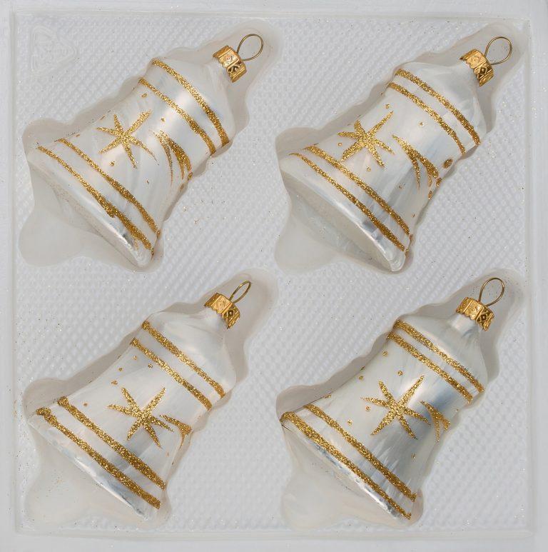 """4 tlg. Glas-Glocken Set in """"Ice Weiss Gold"""" Komet"""