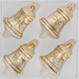 "4 tlg. Glas-Glocken Set in ""Ice Champagner Gold"" Komet"