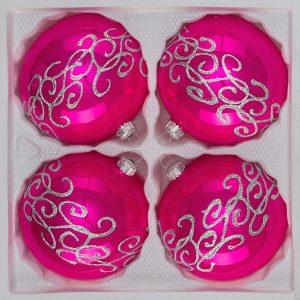 """4 tlg. Glas-Weihnachtskugeln Set 10cm Ø in """"Hochglanz Pink Silberne Ornamente"""""""