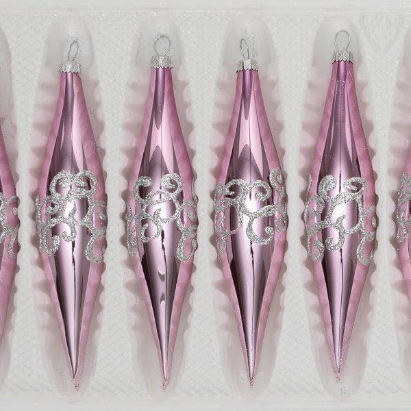 Christbaumkugeln Rosa Glas.6 Tlg Glas Zapfen Set In Hochglanz Rosa Silberne Ornamente
