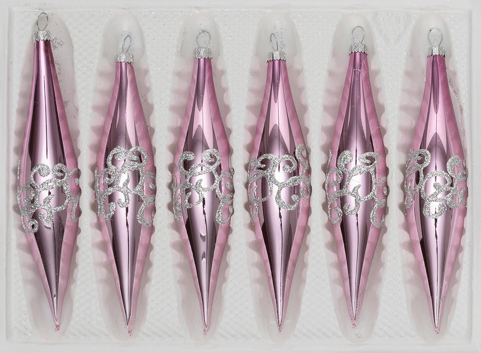 """6 tlg. Glas Zapfen Set in """"Hochglanz Rosa Silberne Ornamente"""""""