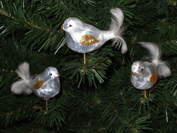 "3 tlg. Glas Vogel Set in ""Ice Weiss Silber"""