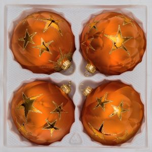 "4 tlg. 12cm Glas-Weihnachtskugeln Set 12cm Ø in ""Ice Orange Gold"" Goldener Stern"
