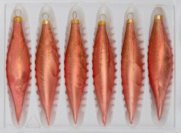 "6 pcs. glass cones set in ""Ice Salmon Gold"" Rain"