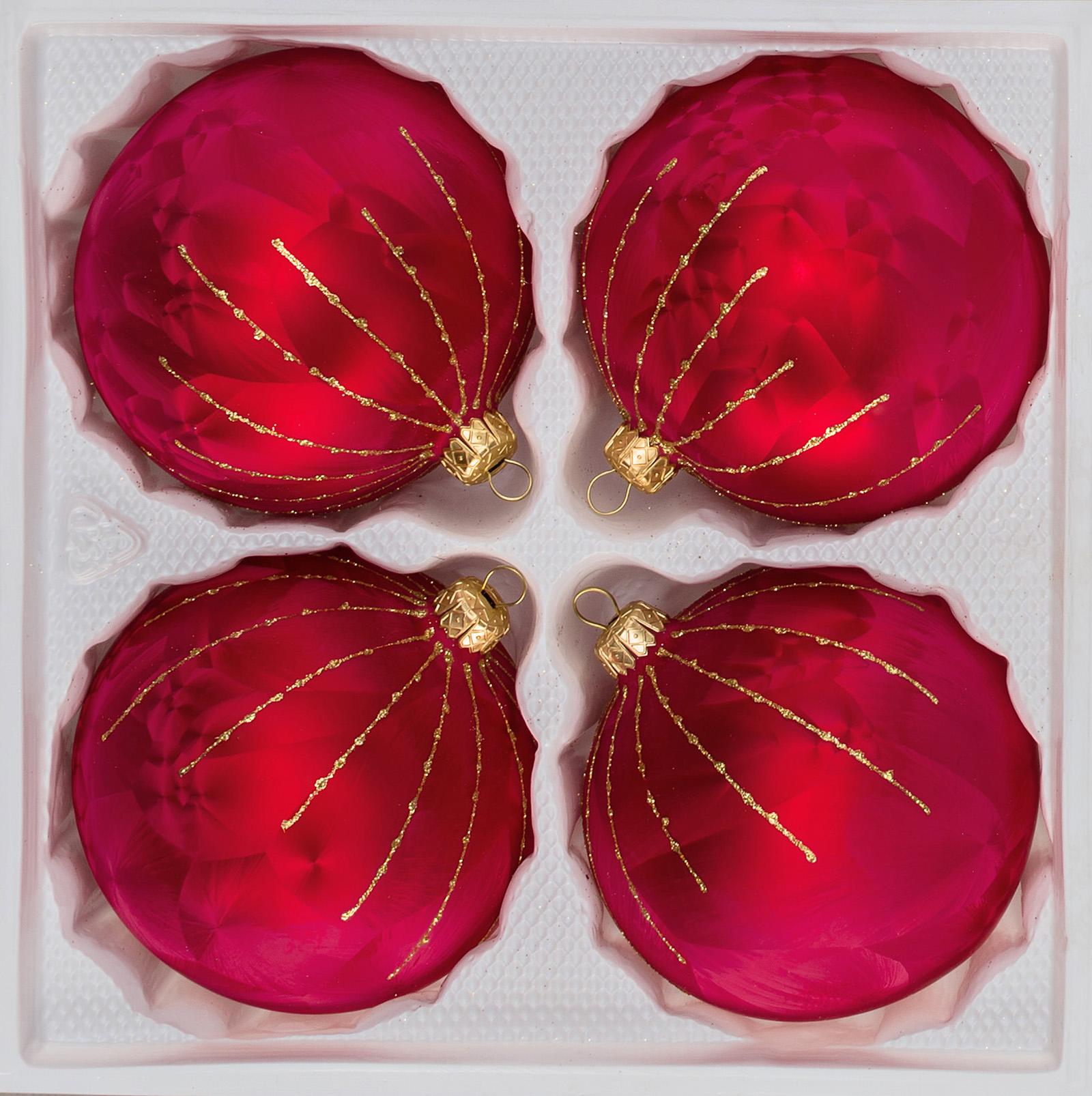 """4 tlg. 12cm Glas-Weihnachtskugeln Set 12cm Ø in """"Ice Rot Gold"""" Regen"""