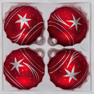"4 tlg. Glas-Weihnachtskugeln Set 10cm Ø in ""Classic Rot Silber"" Komet"