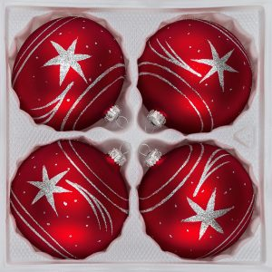 "4 tlg. 12cm Glas-Weihnachtskugeln Set 12cm Ø in ""Classic Rot Silber"" Komet"