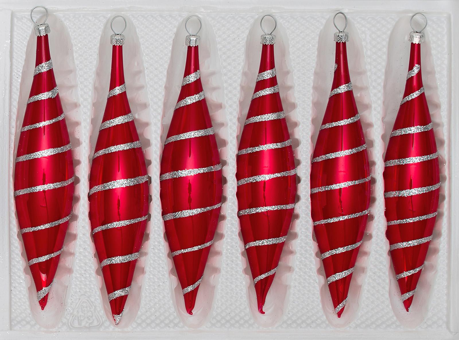 """6 tlg. Glas Zapfen Set in """"Hochglanz Rot Candy"""" Silberne Spiralen"""