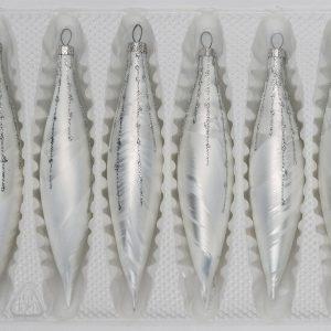 """6 tlg. Glas Zapfen Set in """"Ice Weiss Silber"""" Regen"""