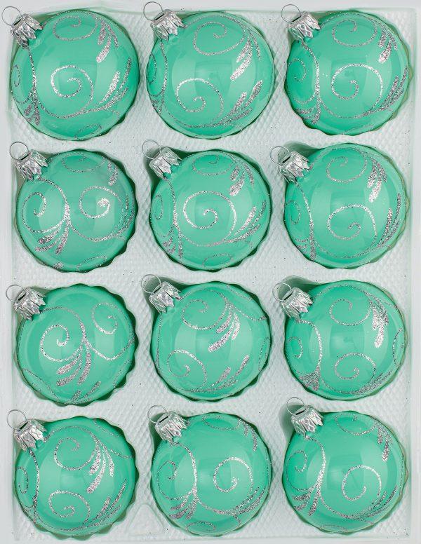 12 Christbaumkugeln Weihnachtskugeln Set Hochglanz Mint Minze Design