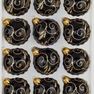12 teiliges Set Christbaumkugeln Weihnachtskugeln Set Hochglanz Schwarz Gold Design Christmasballs Black Gloss