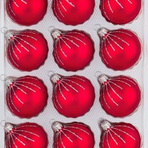 12 Weihnachtskugeln Christbaumkugeln Christmas Ball Classic Rot Regen