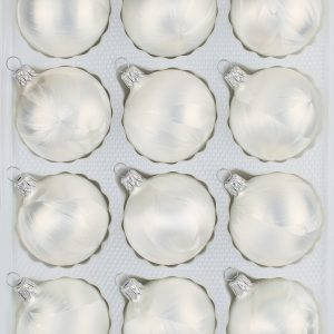 """12 tlg. Glas-Weihnachtskugeln Christbaumkugeln Set in """"Ice Weiss"""" Eislack"""