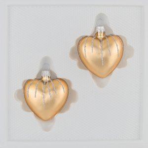 2 tlg. Glas-Herzen Set in Classic Gold Silber Regen - Christbaumkugeln - Weihnachtsschmuck-Christbaumschmuck