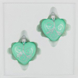 2 teilige Glas Herzen Set Christbaumkugeln Weihnachtskugeln Set Hochglanz Mint Minz Design