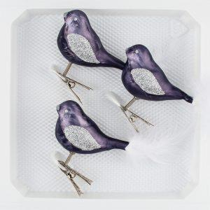 3 Glas Vogel Set Ice Graphit Silber