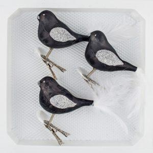 """3 Glas Vogel Set """"Ice Schwarz Silber"""""""