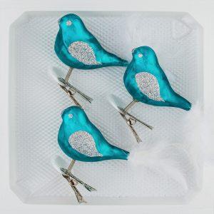 """3 tlg. Glas Vogel Set in """"Ice Petrol-Türkis Silber"""" - Christbaumkugeln - Weihnachtsschmuck-Christbaumschmuck"""