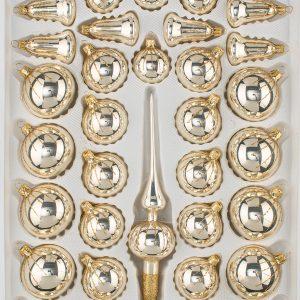"""39 tlg. Glas-Weihnachtskugeln Set in """"Chrom Champagner Gold"""" Regen - Christbaumkugeln - Weihnachtsschmuck-Christbaumschmuck"""