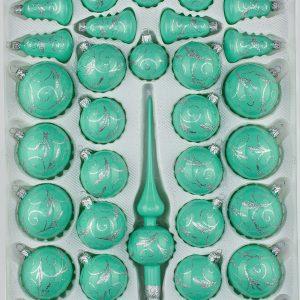 39 Christbaumkugeln Weihnachtskugeln Set Hochglanz Mint Minz Design